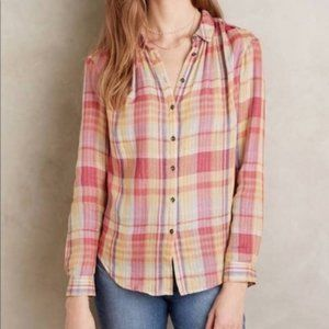 Anthropologie Holding Horses Plaid Button Down 0